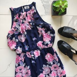Old Navy Blue And Pink Floral Ruffle Maxi Dress